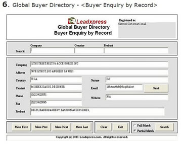 Global Buyer & Importer Directory Entry Screen