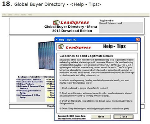 Global Buyer & Importer Directory Screen